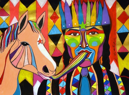 George Littlechild - 'First Nations Cowboy Jim and his horse Spectrum'